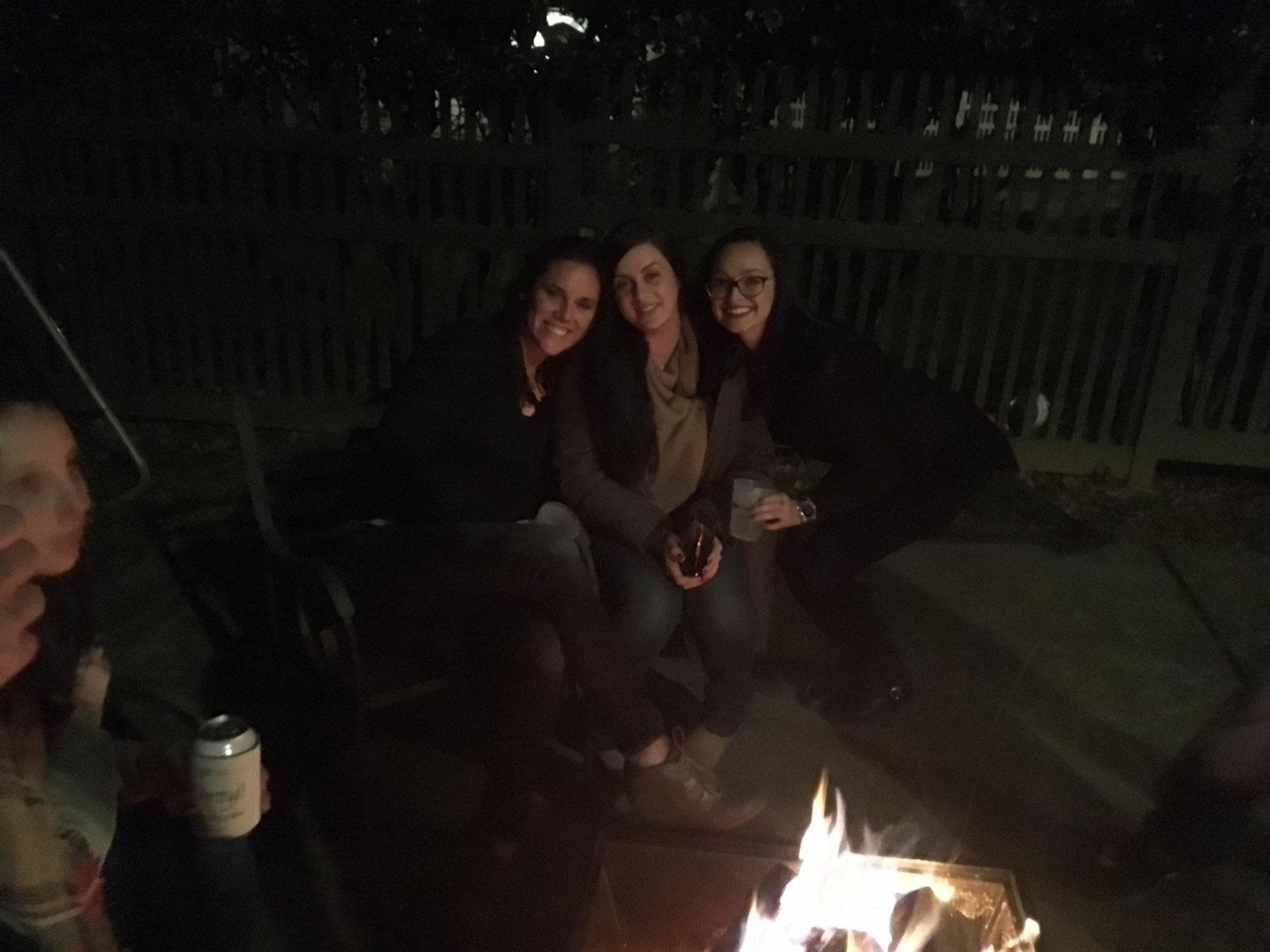 Gina Levtov and friends by the fire