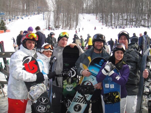 Gina Levtov and friends snowboarding