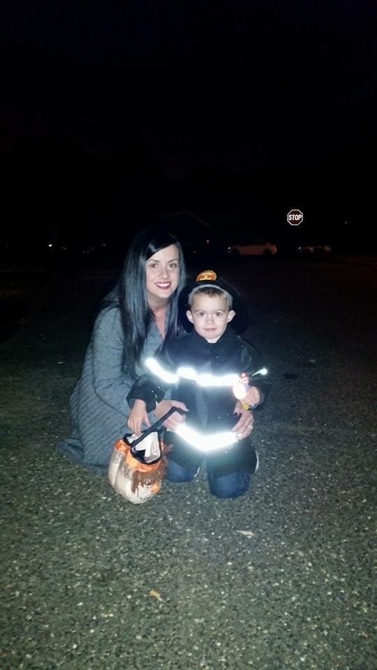 Gina Levtov and her son on Halloween
