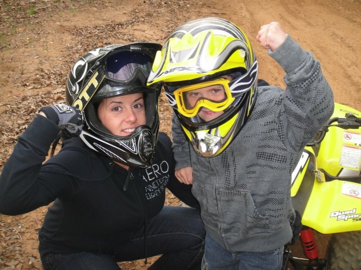 Gina Levtov and her son with a four-wheeler